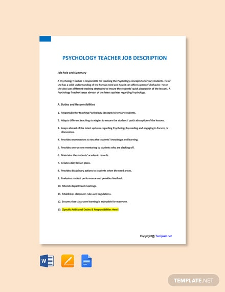 Free Psychology Teacher Job Description Template