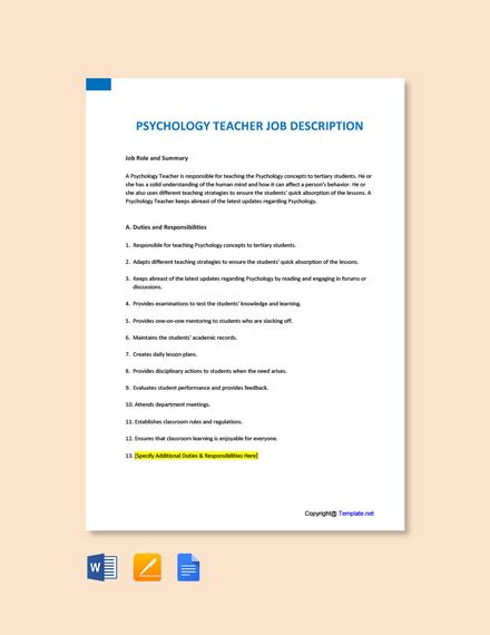 Free Psychology Teacher Job Ad/Description Template
