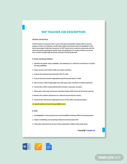 Free RSP Teacher Job AD/Description Template