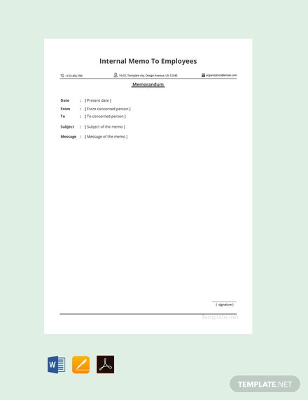 Free Sample Internal Memo to Employees Template