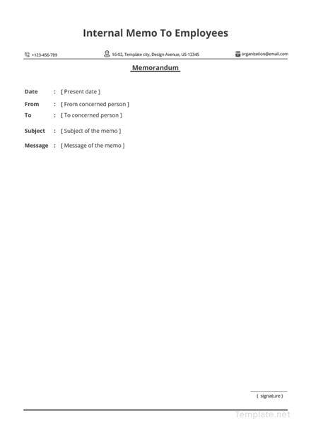 Free Sample Internal Memo to Employees Template