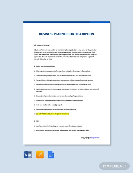 Free Business Planner Job AD/Description Template