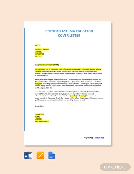 Free Certified Asthma Educator Cover Letter Template