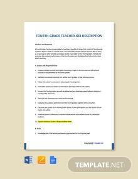 Free Fourth Grade Teacher Job Ad/Description Template