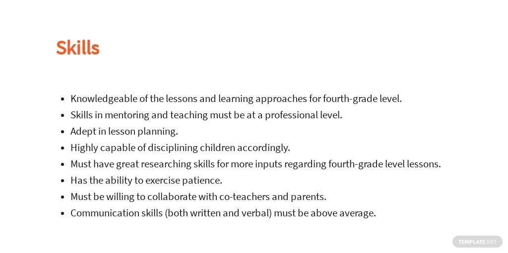 Free Fourth Grade Teacher Job Ad/Description Template 4.jpe