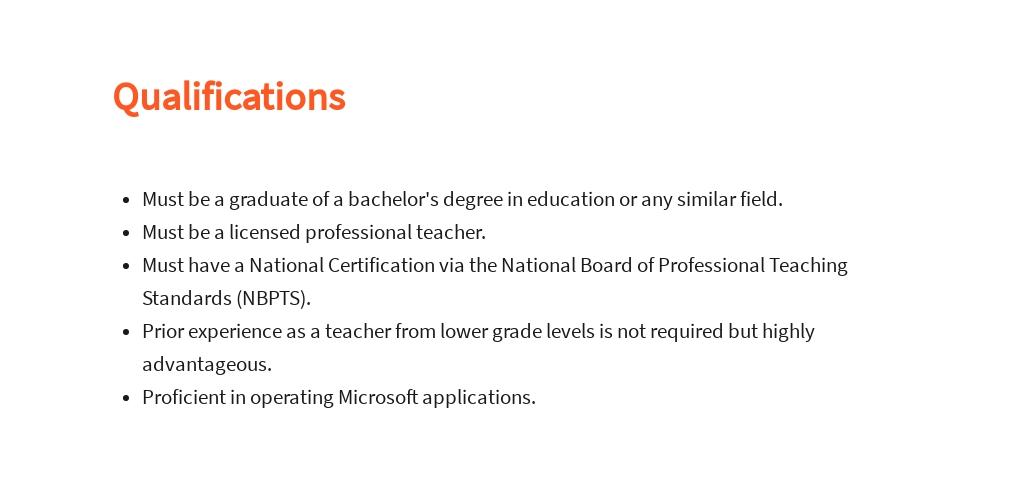 Free Fourth Grade Teacher Job Ad/Description Template 5.jpe