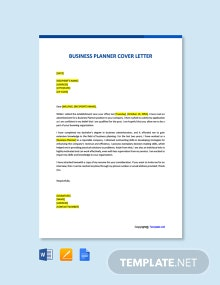 Free Business Planner Cover Letter Template