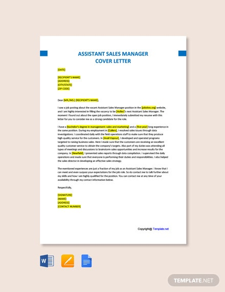 Assistant Sales Manager Cover Letter