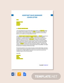 Free Assistant Sales Manager Cover Letter Template