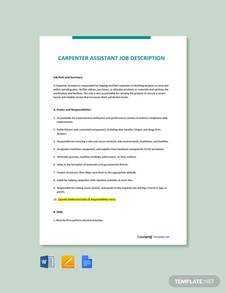 Free Carpenter Assistant Job Ad/Description Template