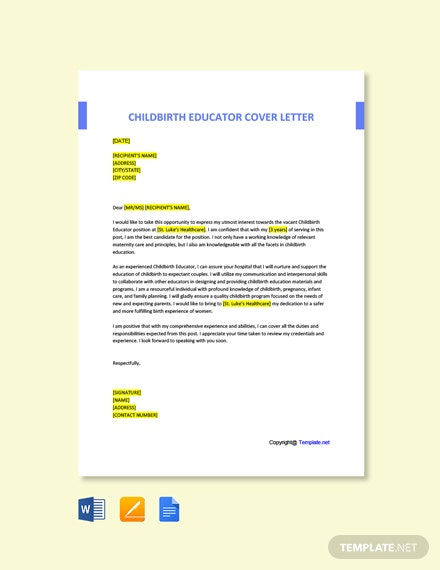 Free Childbirth Educator Cover Letter Template