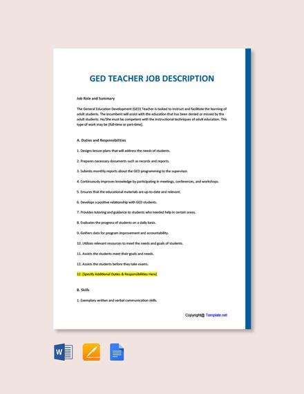 Free GED Teacher Job Description Template