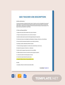 Free GED Teacher Job Ad and Description Template