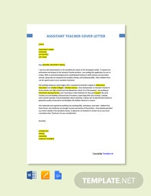 Free Assistant Teacher Cover Letter Template