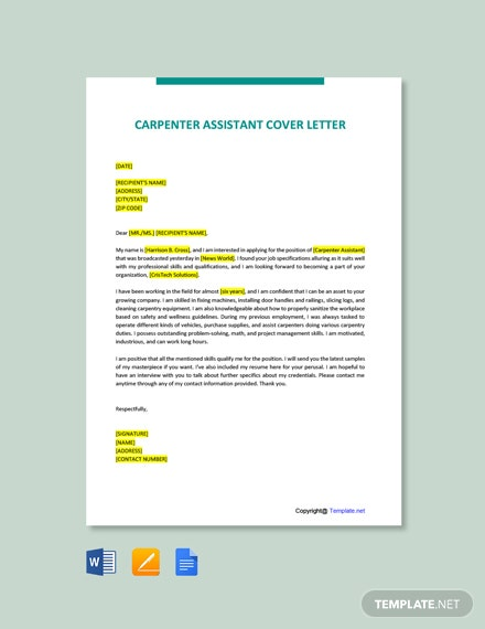 Free Carpenter Assistant Cover Letter