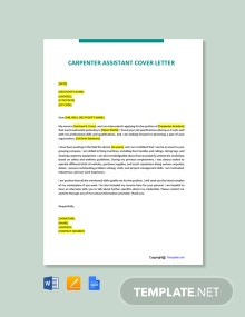 Free Carpenter Assistant Cover Letter Template
