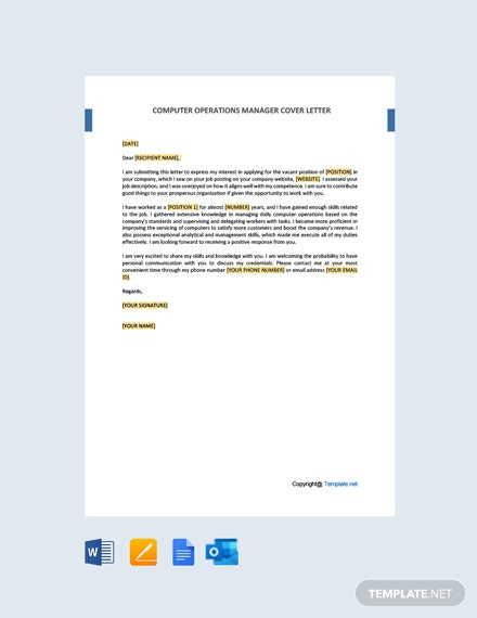 Free Computer Operations Manager Cover Letter Template