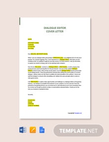 Free Dialogue Editor Cover Letter Template
