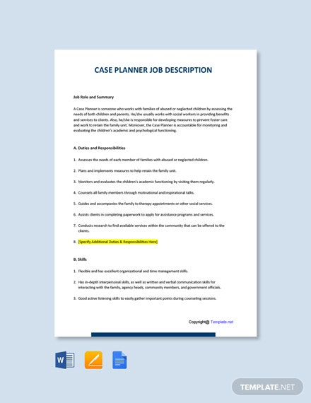Free Case Planner Job Ad and Description Template