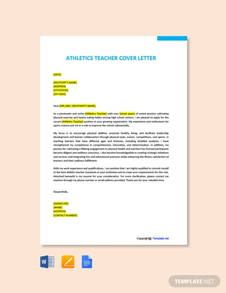 Free Athletics Teacher Cover Letter Template