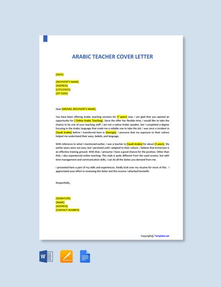 Free Arabic Teacher Cover Letter Template