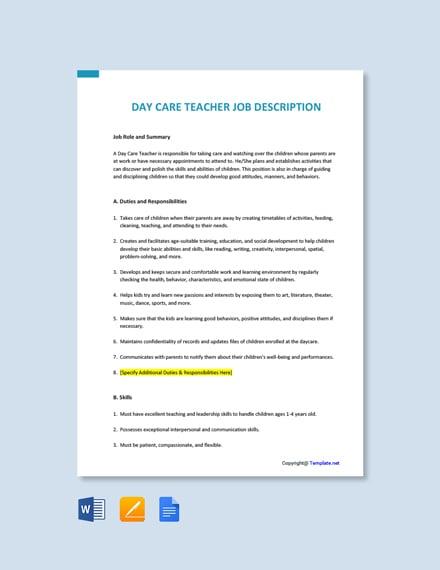 Free Day Care Teacher Job Ad and Description Template
