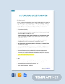 Free Day Care Teacher Job Ad and Description Template