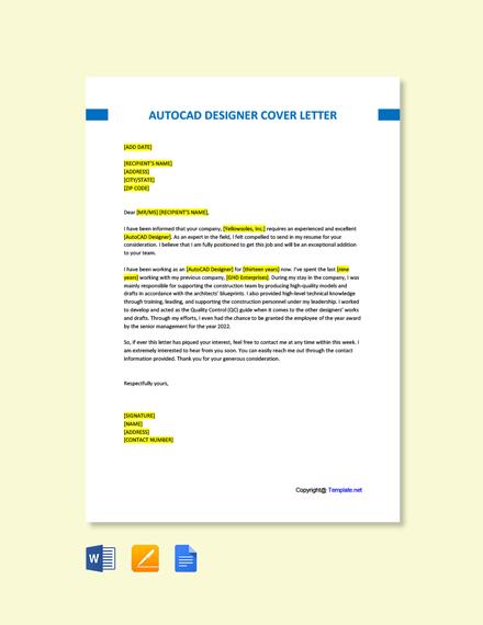 Free AutoCAD Designer Cover Letter Template