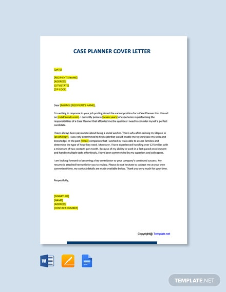 Free Case Planner Cover Letter Template