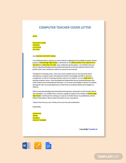 Free Computer Teacher Cover Letter Template