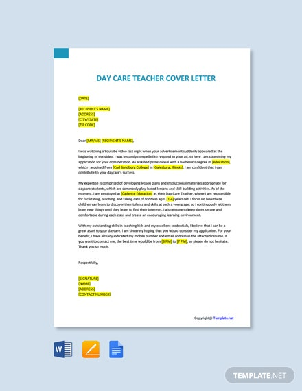 Free Day Care Teacher Cover Letter Template