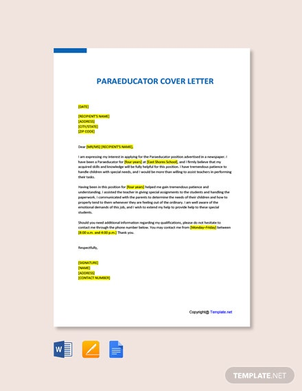 Free Paraeducator Cover Letter Template
