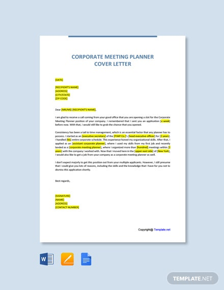 Free Corporate Meeting Planner Cover Letter Template