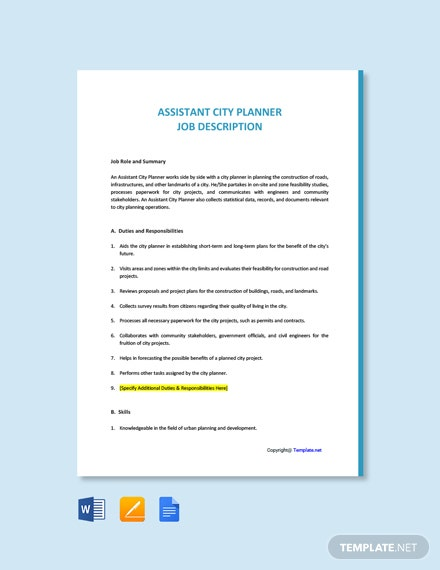 Free Assistant City Planner Job Ad and Description Template