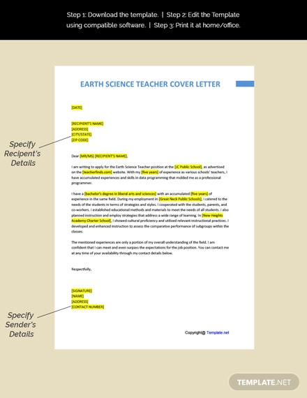 Earth Science Teacher Cover Letter Template