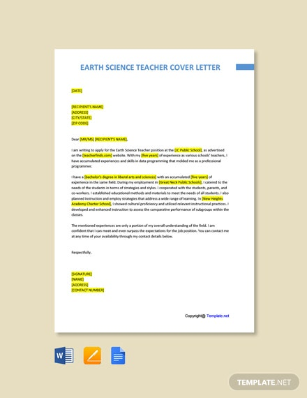 Free Earth Science Teacher Cover Letter Template