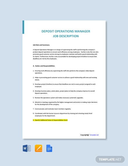 Free Deposit Operations Manager Job Ad and Description Template