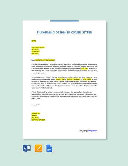 Free E-Learning Designer Cover Letter Template