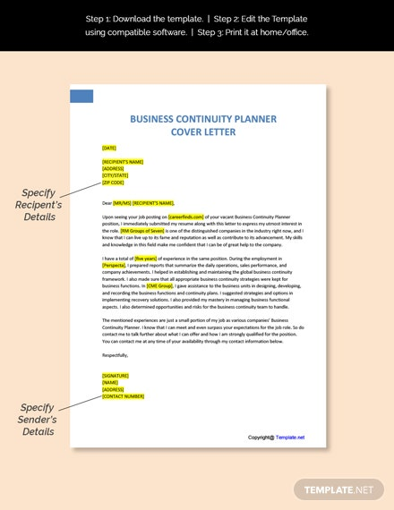 Business Continuity Planner Cover Letter Template