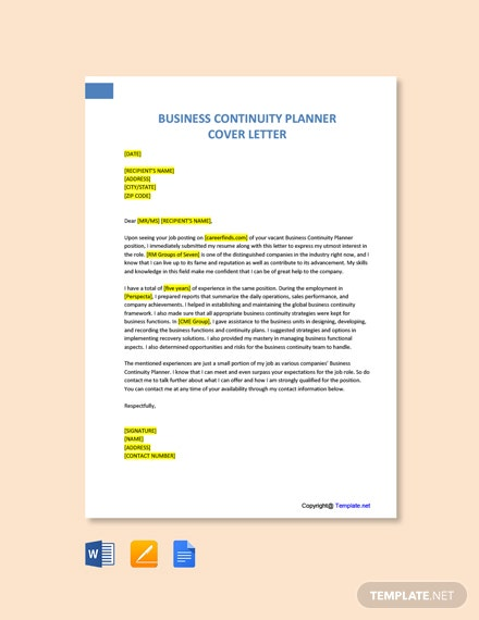 Free Business Continuity Planner Cover Letter Template