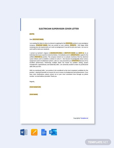 Free Electrician Supervisor Cover Letter Template