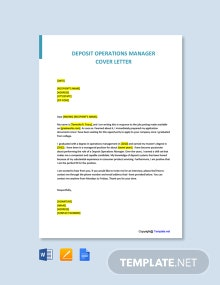 Free Deposit Operations Manager Cover Letter Template