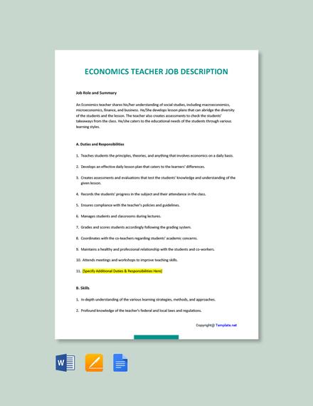 Free Economics Teacher Job Ad/Description Template