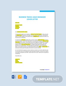 Free Business Travel Sales Manager Cover Letter Template