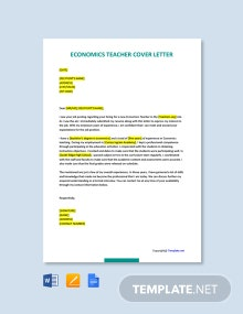 Free Economics Teacher Cover Letter Template