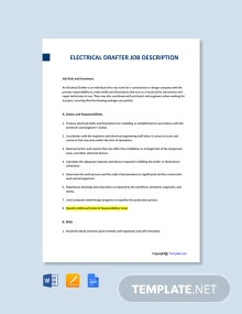 Free Electrical Drafter Job Description Template
