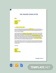 Free ESE Teacher Cover Letter Template