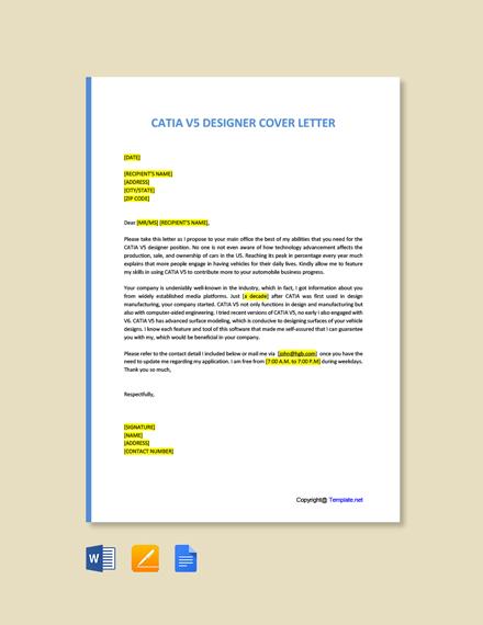 Free CATIA V5 Designer Cover Letter Template