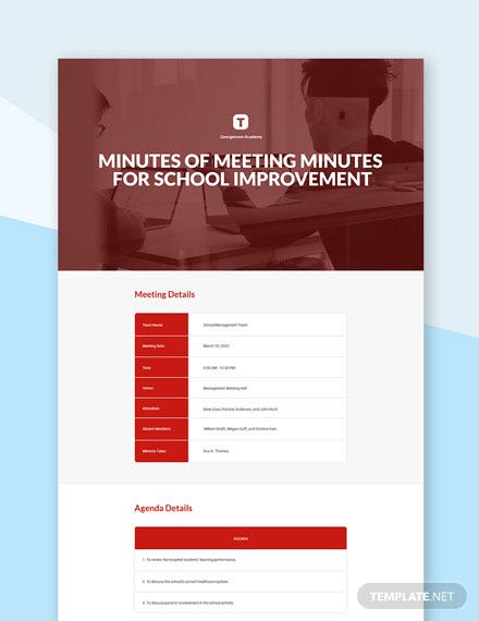 Free Minutes of Meeting for School Improvement Template