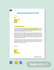 Free Christian Teacher Cover Letter Template